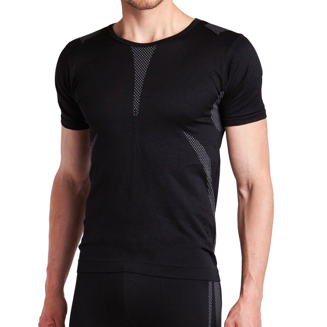 Sport Funktionswäsche Herren Kurzarm Hemd Seamless von celodoro - Ski-, Thermo- & Funktionsshirt ohne störende Nähte mit Elasthan in versch. Farben