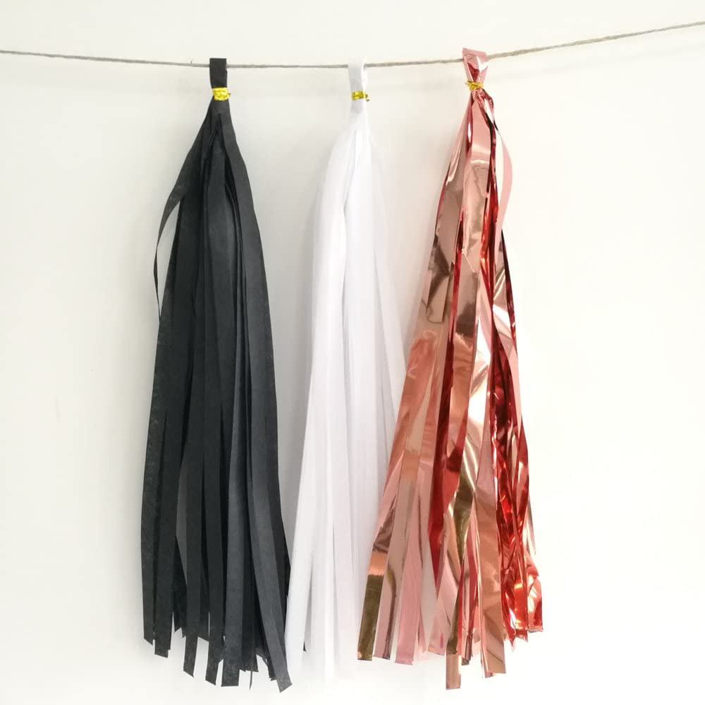 DIY Kits,Black,Red,Pack of 20 We Moment Tissue Paper Tassels Party Tassel Garland Banner for Party Decorations