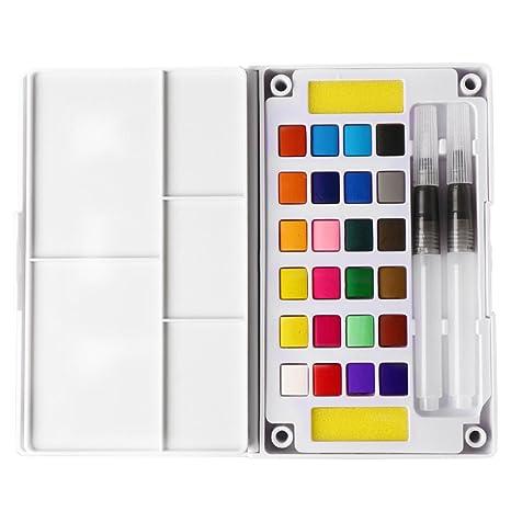 SUPVOX Juego de pintura acuarela, 24 colores, no tóxico, para viaje ...