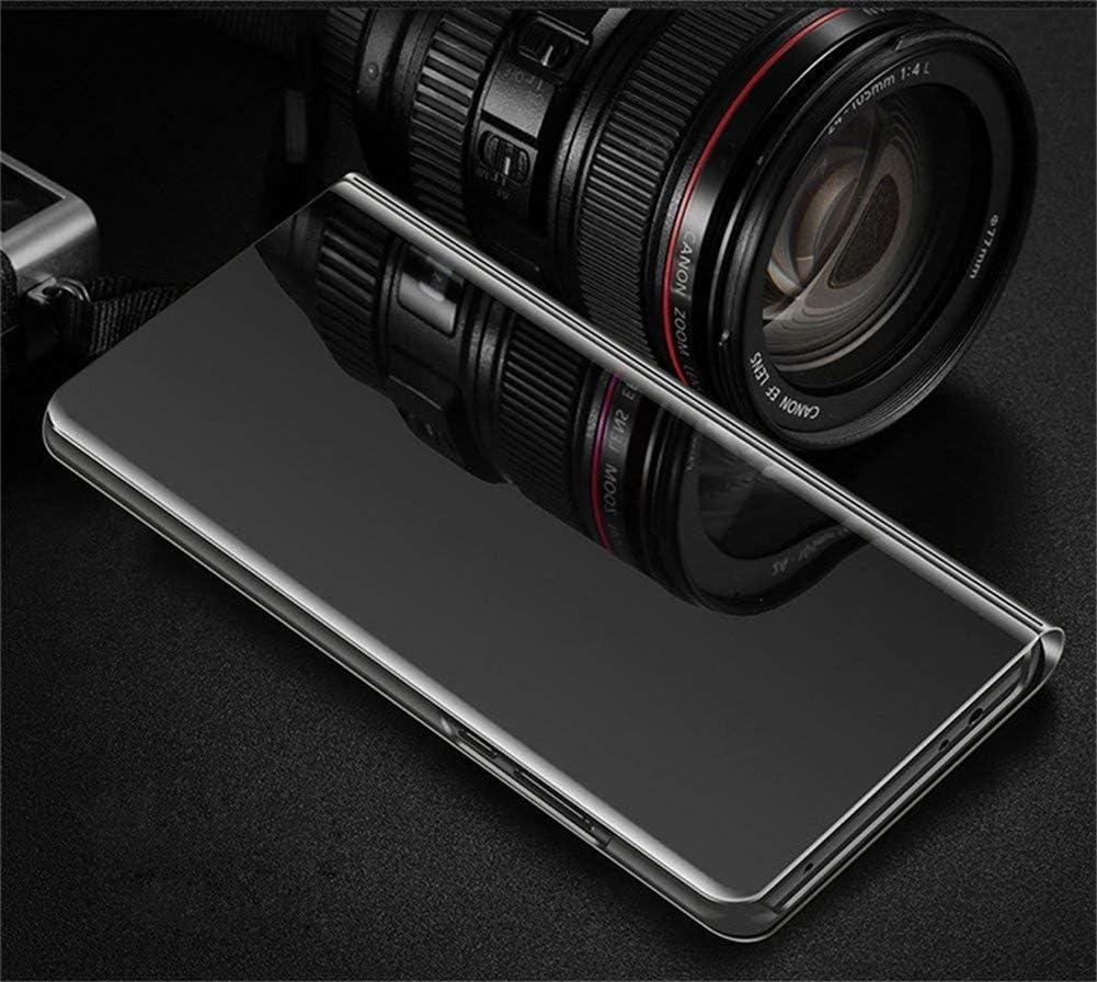 COTDINFORCA Trucco Specchio per Huawei P40 Lite 5G Custodia Sottile Clear View Mirror Case Flip Cavalletto Pieghevole Custodia Paraurti Bumper Cover per Huawei Nova 7 SE Mirror PU Gold MX.