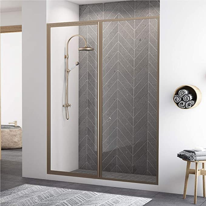 Coastal Shower Doors L31il18 69b C Legend Series Framed Hinge Swing Shower Door With Inline Panel In Clear Glass 43 X 66 Brushed Nickel Amazon Com