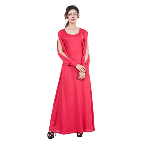 Mamosa Red Rayon Long Full Sleeve Maxi dress for Women for party ...
