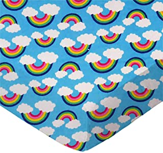 product image for SheetWorld Fitted 100% Cotton Flannel Bassinet Sheet 15 x 33, Rainbows Blue, Made in USA