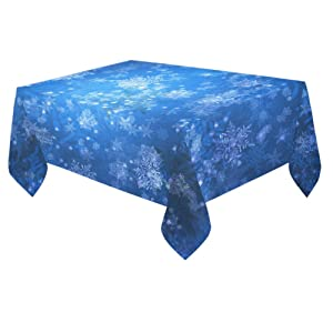 Unique Debora Custom Tablecloth Cover Cotton Linen Cloth Blue Snowflakes For Dining Room, Tea Table, Picnics, Parties DT-8