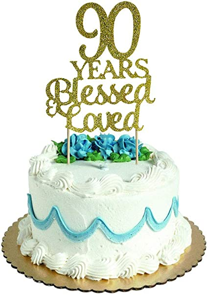 Sensational Amazon Com 90 Years Blessed Loved Cake Topper For 90Th Birthday Funny Birthday Cards Online Elaedamsfinfo