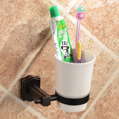 Ceramic Wall Toothbrush Holder (Bathroom One Cup Wall Mounting Brass Toothbrush and Toothpaste Holder Oil Rubbed Bronze Finish with a White Ceramic Tumbler)