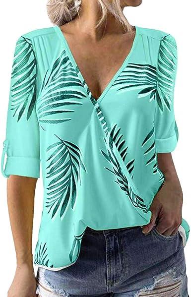 SEWORLD Camiseta de Mujer Top de Mujer con Cuello de Pico y ...
