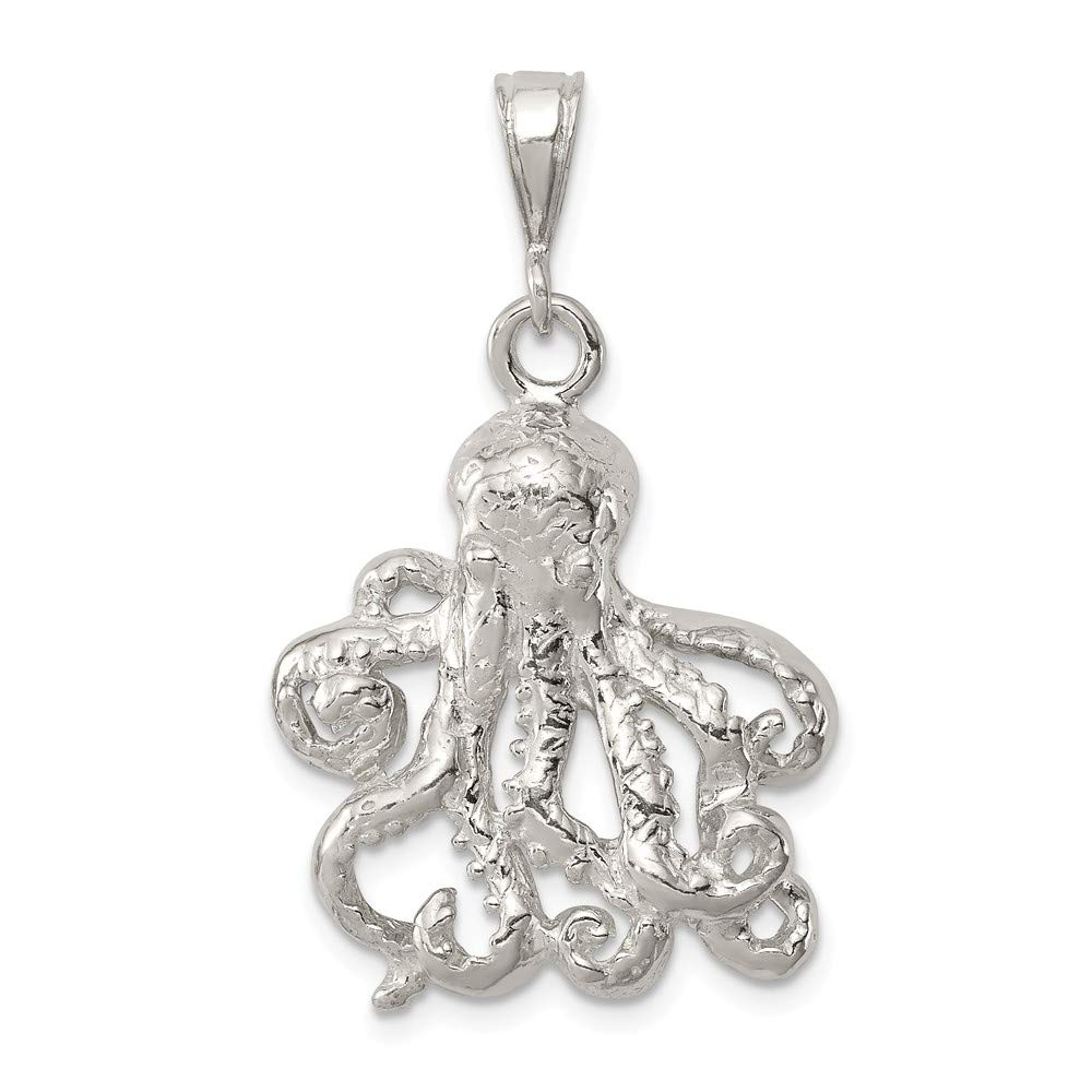 FB Jewels Solid 925 Sterling Silver Octopus Charm