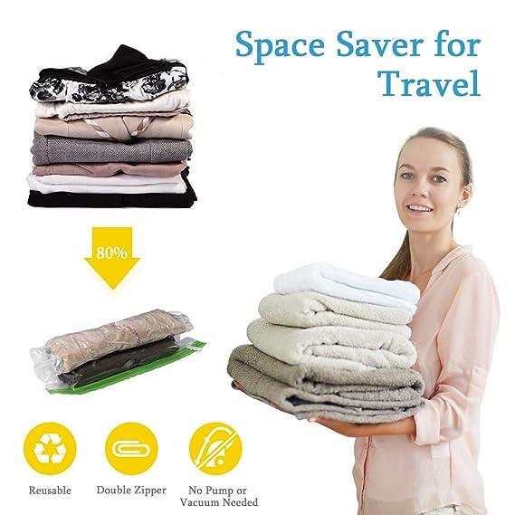Fixget Bolsas de Almacenamiento de vacío Reutilizables, 12 Piezas de Viaje ahorrador de Espacio Bolsas de Fuerza de Ahorro de Espacio (4 x pequeño, ...