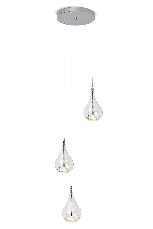 Brilliant Pendelleuchte Maira mit Glaskügelchen im äußerem Glas, 3-flammig, individuell kürzbar, Metall Glas, 3 x 20W, chrom, G4 inklusiv G14776 15