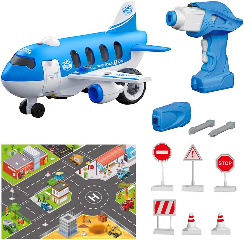 BiMONK Take Apart Toy Airplane, Assembly Playset with Electric Drills, STEM Building Construction Toy for Kid Toddler Boy Girl, Remote Control Airplane with Hours of Fun, for Aged 3+ (33Pcs)