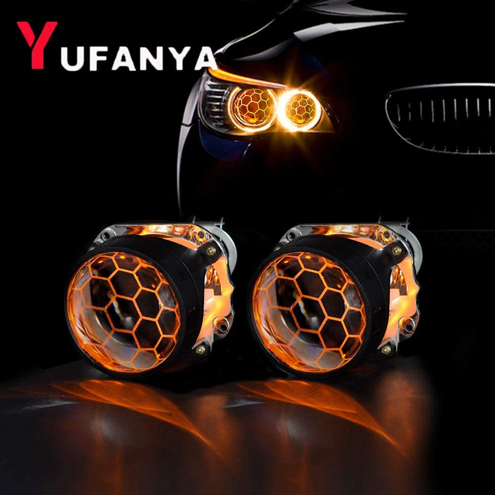 YUFANYA 2.5 Inch Blue Honeycomb Bixenon Projector Lens Mini H1 Car Headlight with Yellow Demon Eyes Fit for H4 H7 Car Motorcycle Retrofit (Projector Lens & Devil Eyes)