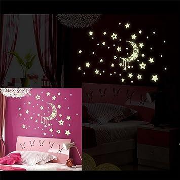 Amazon.de: Leuchtende Sterne Mond Leuchtsticker Fluoreszierende ...