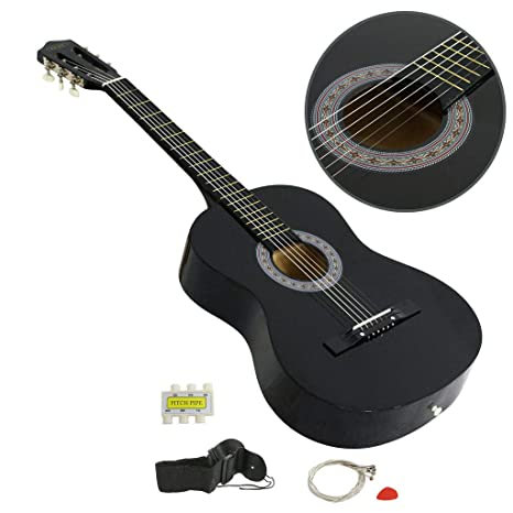26a1a9f041d Amazon.com: Polar Aurora Electric Acoustic Guitar Cutaway Design With Guitar  Case, Strap Black New: Musical Instruments