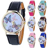 Butterfly Watches for Women,COOKI Unique Analog Fashion Lady Watches Female watches on Sale Casual Wrist Watches for Women Comfortable PU Leather Watch-H38
