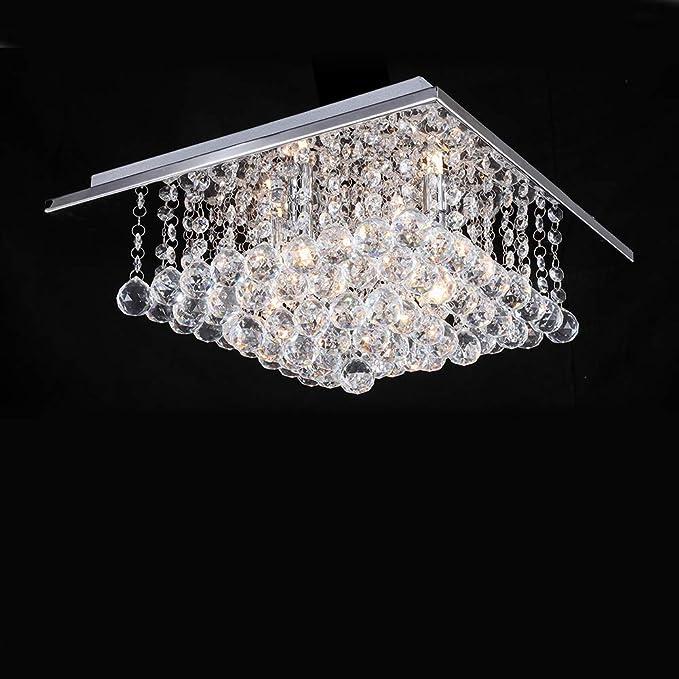 Quadratischer Glas Lampenschirm Pendelleuchte f/ür Schlafzimmer L40cm B40cm H17.5cm A1A9 Moderne Kristallleuchter mit 5 Lichtern Elegant Droplet K9 Kristall Deckenleuchte Wohnzimmer Esszimmer
