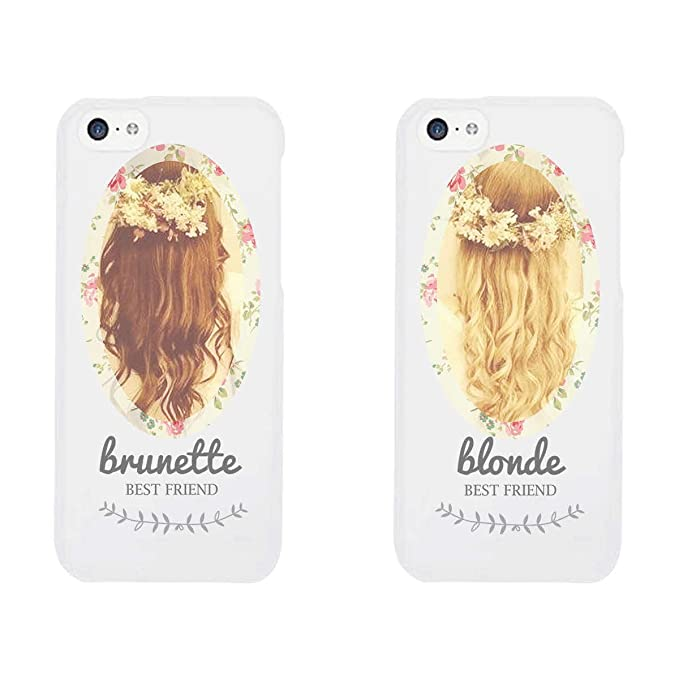 best loved 14be1 0aef5 365 Printing Floral Brunette and Blonde White Matching Best Friends Phone  Cases Christmas Gift for BFF