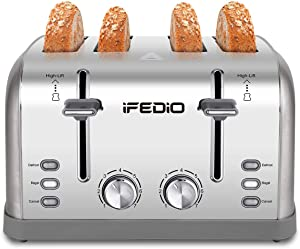 Toaster 4 Slice , Extra Wide Slot Toasters Bagel/Defrost/Cancel Function with 4 Piece, 7 Shade Settings of Bread Toaster for Kitchen, Removable Crumb Tray 1500W (Sliver)