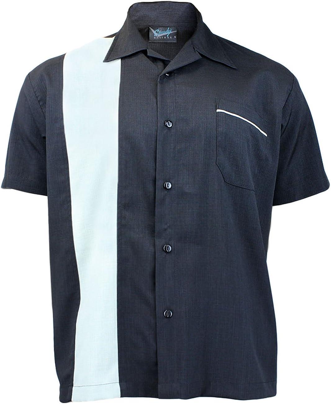 Steady Clothing Hombre Vintage Bowling camisa – Single Poplin Retro Bolos Camiseta negro Large: Amazon.es: Ropa y accesorios