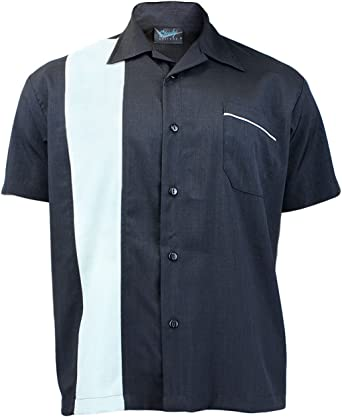 Steady Clothing Hombre Vintage Bowling camisa – Single Poplin Retro Bolos Camiseta negro Large: Amazon.es: Ropa y accesorios
