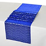 LQIAO Royal Blue Sequin Table Runner-14x108inch Sparkly Shimmer Sequin Fabric, Sequin Table Runner, Sequin Tablecloth, Table Linens Wedding Dining Party Shiny Decoration(18PCS)