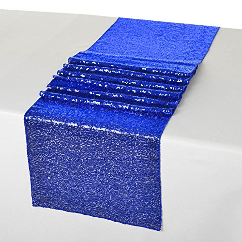 LQIAO Glitter 18PCS 13x108in-Sequin Table Runner-Sparkly Wedding Party Dining Kitchen Table Linens DIY, Royal Blue by LQIAO
