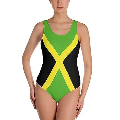 c1be3fd174849 Amazon.com: Kimberly Shop Design Jamaica Print Color Jamaican Flag One-Piece  Swimsuit Swimwear Carribean Rasta (XL): Clothing