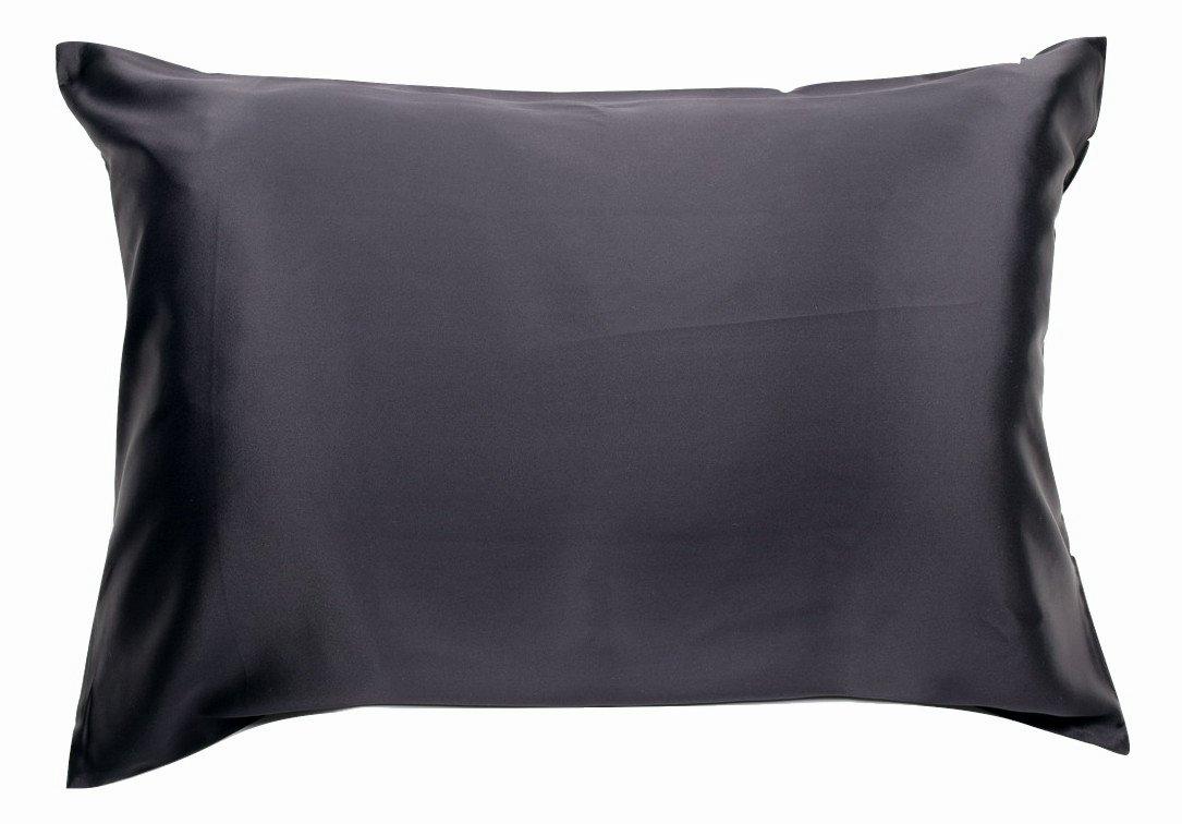 100% Silk Pillowcase for Hair Zippered Luxury 25 Momme Mulberry Silk King Black B00YQNVGJQ キング|ブラック ブラック キング