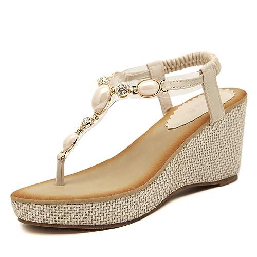 3455bf03 gracosy Sandalias de Verano para Mujer Zapatos de Plataforma de  Antideslizantes Sandalias Romanas de Verano de