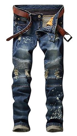 a45b3559 OKilr Pjik Men's Dark Blue Ripped Distressed Slim Straight Fit Biker Jeans  With Zipper 28