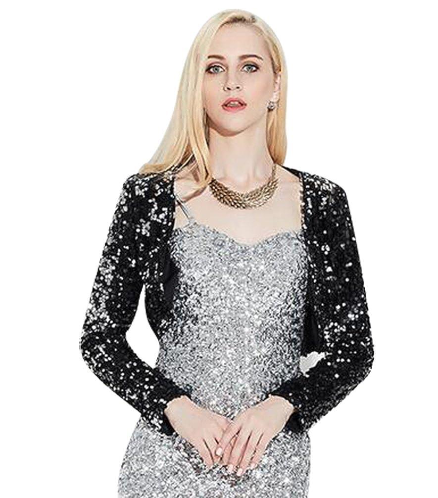 bf2269d282fc7 NiSeng Womens Glitter Sequins Long Sleeve Blazers Bolero Shrugs Cropped  Jackets Cardigan Black  Amazon.co.uk  Clothing