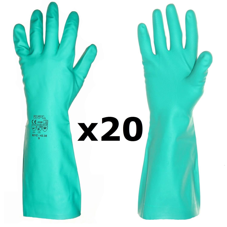 Coronavirus Antivirus limpieza 1 Par, 9L Guantes largos profesionales de caucho de nitrilo para cocina ba/ño laboratorio la mejor protecci/ón contra g/érmenes qu/ímicos para el hogar