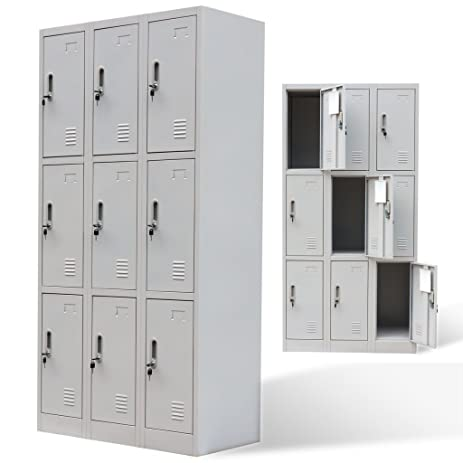 SKB Family Metal Locker Cabinet 9 Doors Gray Standard High Storage