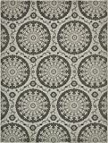 Unique Loom Outdoor Collection Floral Abstract Indoor and Outdoor Transitional Gray Area Rug (9' x 12')