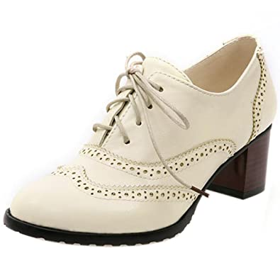 TAOFFEN Womens Classic Block Mid Heel Oxford Shoes Lace Up Beige Size 34 Asian