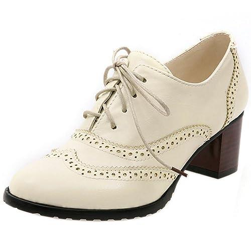 RAZAMAZA Botines Oxford de Tacon Medio para Mujer: Amazon.es: Zapatos y complementos