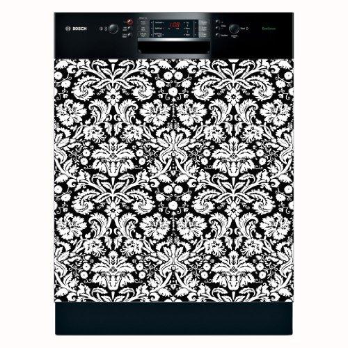 Grip Promotions 11087 Damask Appliance Art- Black White- Lar