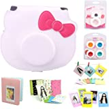 CAIUL 7 in 1 Fujifilm Hello kitty Camera Accessories Bundle(White Hello Kitty Case/Mini Album/ Close-Up Selfie Lens/ 4 Colors Close-Up Lens/ Wall Hang Frame/ Film Frame/Film Stickers)