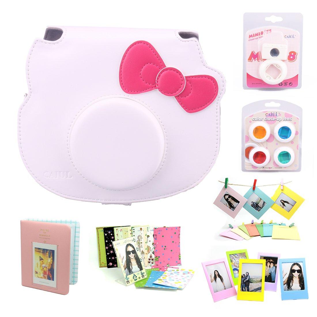 Amazon CAIUL 7 In 1 Hello Kitty Camera Accessories BundleWhite Case Mini Album Close Up Selfie Lens 4 Colors Wall Hang