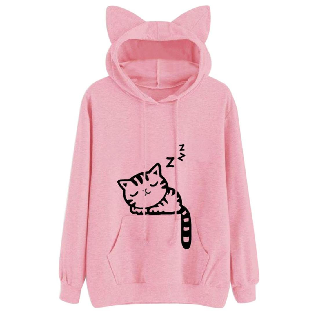 Top19  Womens Hoodie New Hot Sale Fashion Loose Christmas Casual Cat Long  Sleeve Hoodie Sweatshirt Outwear Pullover Tops Blouse by Neartime (Pink 07648e637