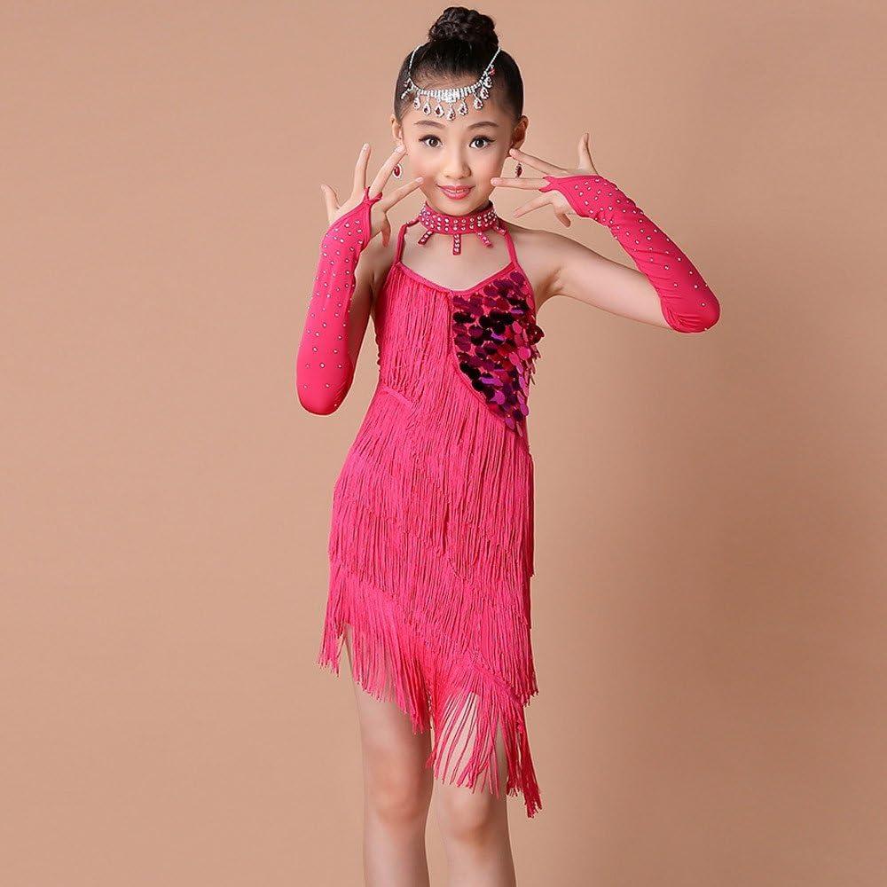 Harpily Vestito Ballo Bambina Ragazze Latino Danza Abito Vestiti da Latino delle Ragazza da Ballo del Ballo della Sfera di Ballo del Vestito Backless dalla Frangia Latina