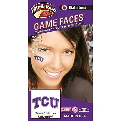 Fan A peel Texas Christian University (TCU) Horned Frogs – Waterless Peel & Stick Temporary Spirit Tattoos – 4-Piece – Purple/White TCU Logo: Toys & Games