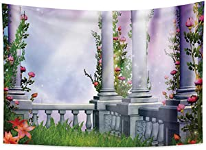 Haoyiyi 39.4x27.6 Inches Fairy Tale Tapestry Garden Flowers Gallery Railing Pillar Sunlight Scenery Vintage Medieval Wall Tapestry Aesthetic Vintage Retro Wall Tapestry Abstract Art for Bedroom Decor