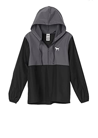 4d2acafab279e Victoria s secret Pink Anorak Windbreaker Jacket Quarter-Zip Black Grey  XSmall Small NWT at Amazon Women s Clothing store