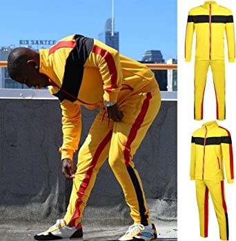 OrchidAmor Fashion Lovers Large Size Stitching Color Strip Zipper Pocket Casual Sports Suit Yellow