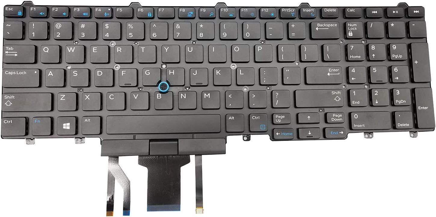 Moon2020 Replacement Keyboard for Dell Latitude E5550 E5570 5550 5580 5590 5591&Precision 3510 3520 7510 7520 7710 7720 Series Laptop with Pointer and Backlight No Frame