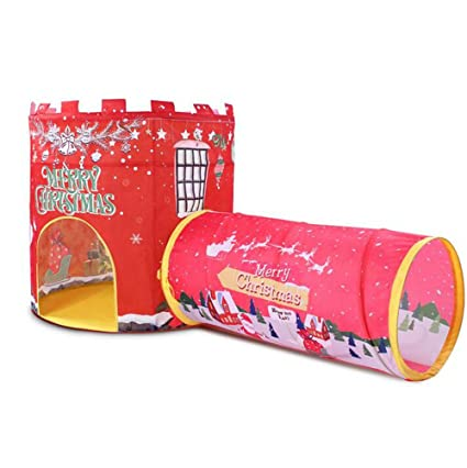 check out 9a9b3 23b85 Amazon.com: Biscount Pop-Up Red Merry Christmas Play Tent ...