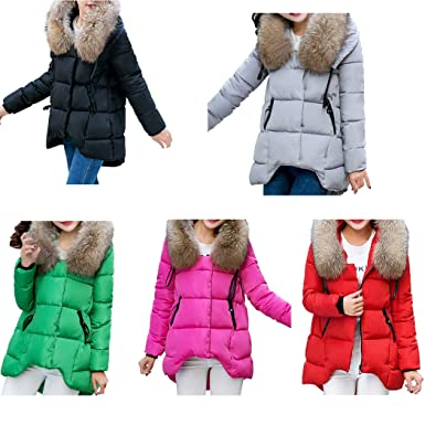 DICPOLIA Womens Slim Parka Jacket Hooded Down Winter Coats Jackets Outwear Coat (M, Black