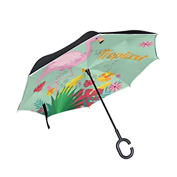 MAILIM Paraguas de Flamenco Tropical con Plantas para el Coche, Doble Capa, Mango C