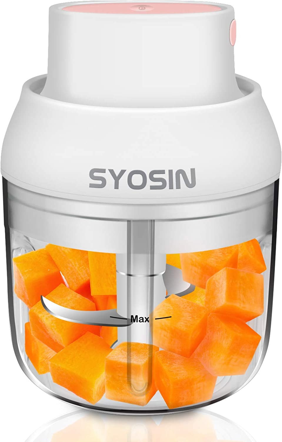 SYOSIN ELectric Mini Garlic Chopper, Food Chopper,Meat Blender,Portable Rechargeable Food Mincer chopper, Onion chopper,Vegetables chopper,Baby Food Mincer(White,250ml,45w)